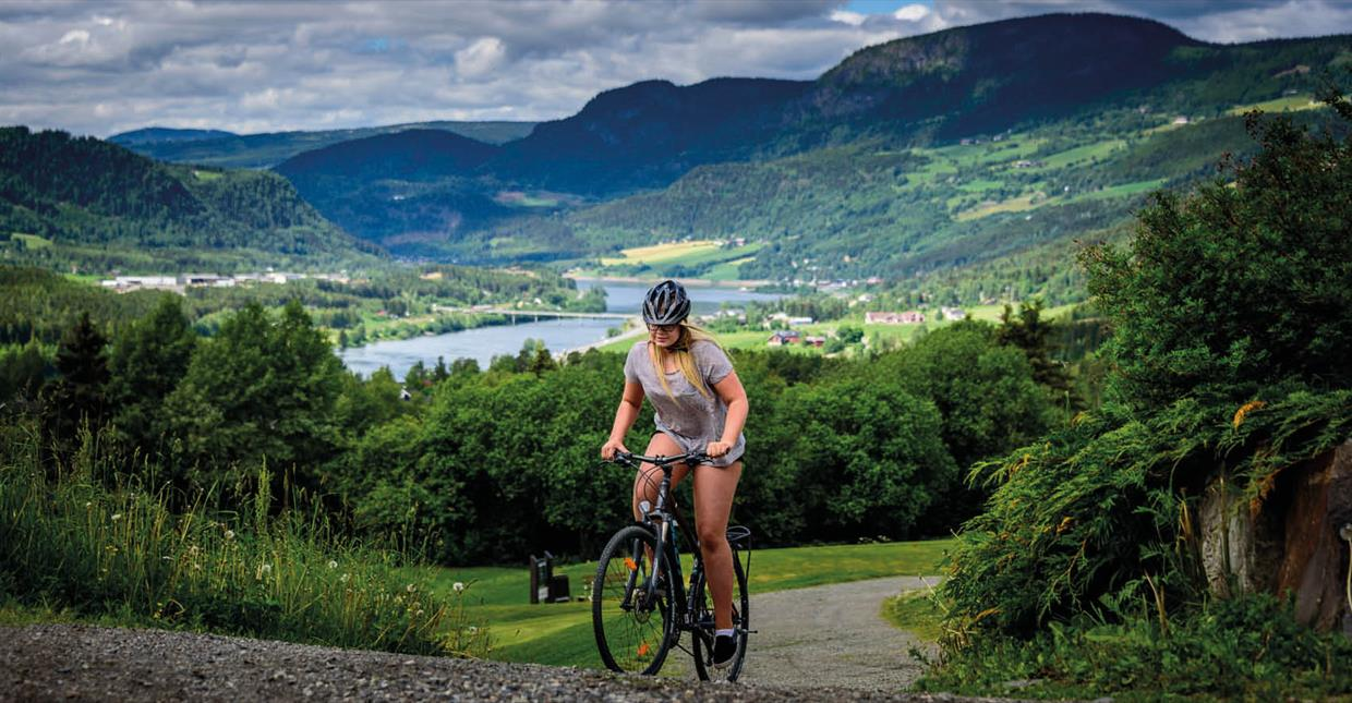 Cycling in nature overviewing Gudbrandsdalen valley