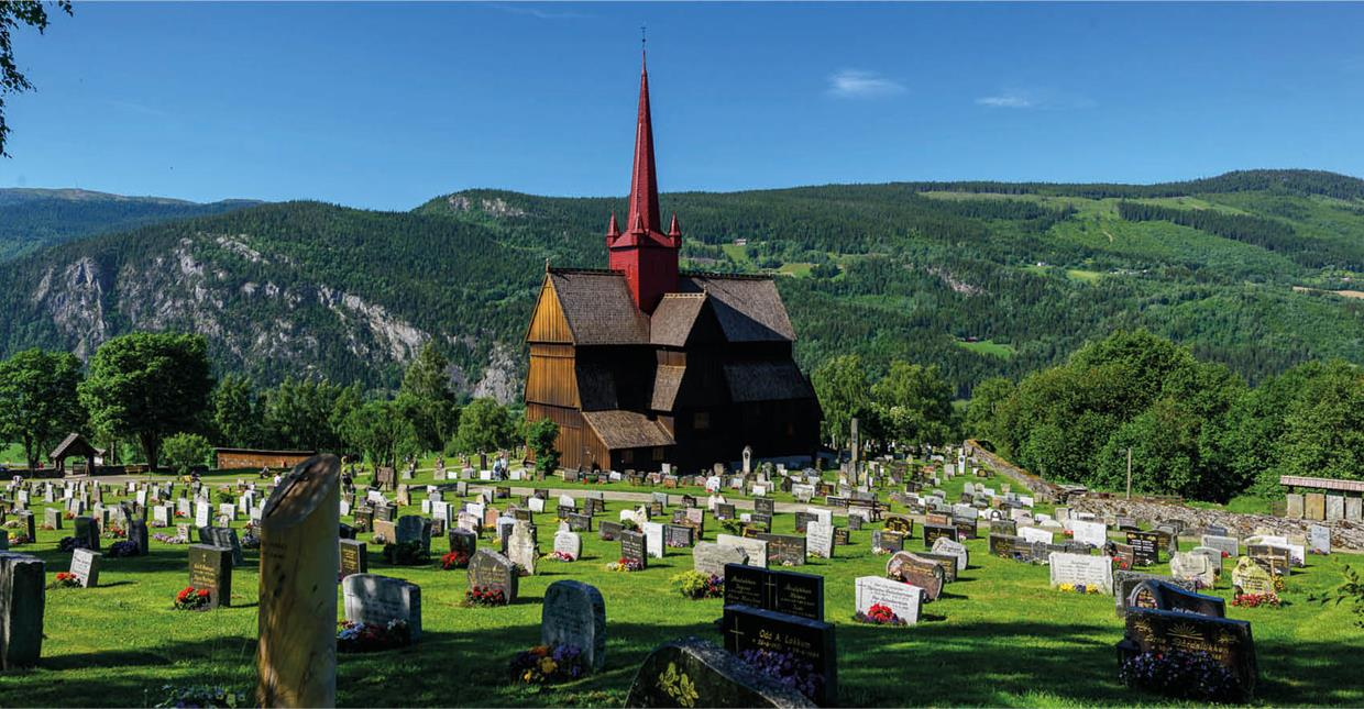 Ringebu Stave church in Gudbrandsdalen valley