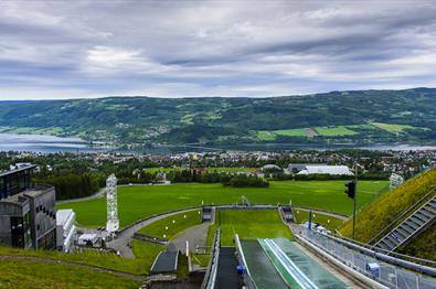 View towards Lillehammer from the top of the jumping hill